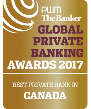 PWM The Banker GLOBAL PRIVATE BANKING AWARDS 2017 MEILLEURE BANQUE PRIVÉE CANADA